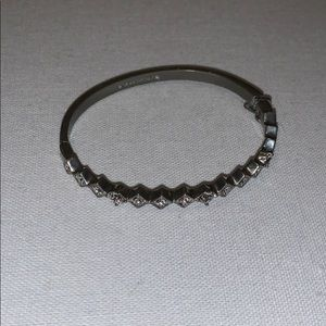givenchy silver-tone and crystal bangle bracelet
